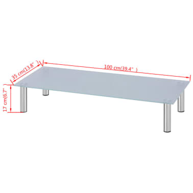 vidaXL Support TV 100 x 35 x 17 cm verre blanc[4/4]