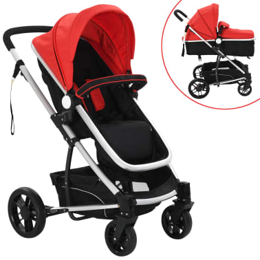 vidaXL 2-in-1 Baby Stroller/Pram Aluminium Red and Black[1/11]