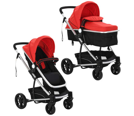 vidaXL 2-in-1 Baby Stroller/Pram Aluminium Red and Black[2/11]