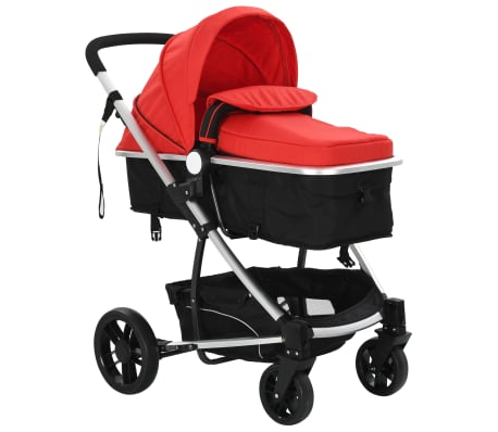 vidaXL 2-in-1 Baby Stroller/Pram Aluminium Red and Black[5/11]