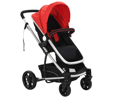 vidaXL 2-in-1 Baby Stroller/Pram Aluminium Red and Black[6/11]