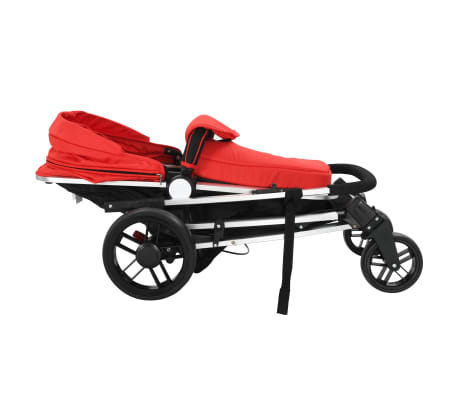 vidaXL 2-in-1 Baby Stroller/Pram Aluminium Red and Black[7/11]