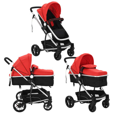vidaXL 2-in-1 Baby Stroller/Pram Aluminium Red and Black[3/11]
