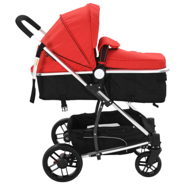 vidaXL 2-in-1 Baby Stroller/Pram Aluminium Red and Black[4/11]