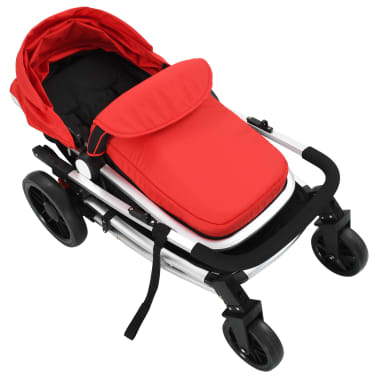 vidaXL 2-in-1 Baby Stroller/Pram Aluminium Red and Black[8/11]