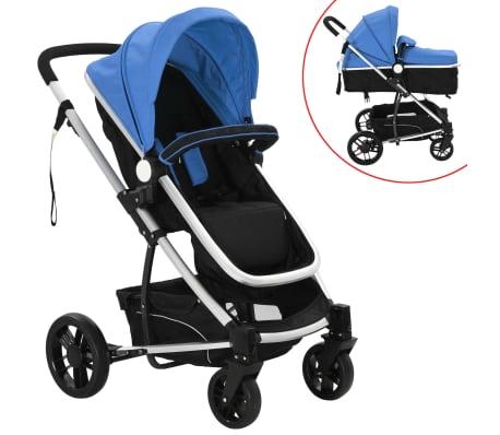 vidaXL 2-in-1 Vaikiškas sulankstomas vežimėlis, aliuminis, mėl./juodas