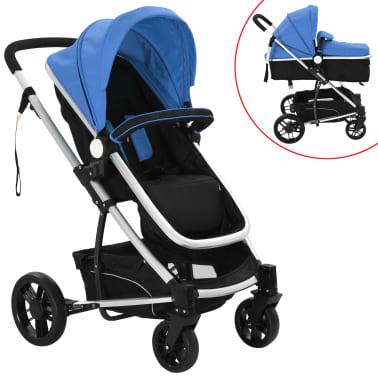 vidaXL 2-in-1 Vaikiškas sulankstomas vežimėlis, aliuminis, mėl./juodas[1/11]