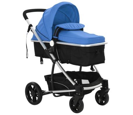 vidaXL 2-in-1 Vaikiškas sulankstomas vežimėlis, aliuminis, mėl./juodas[6/11]