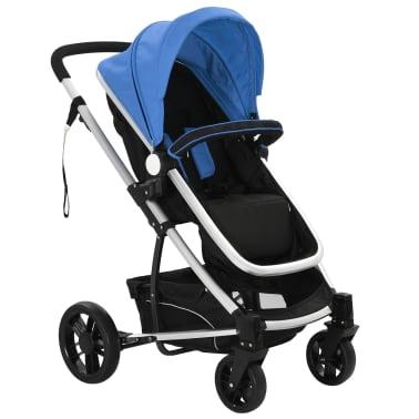 vidaXL 2-in-1 Vaikiškas sulankstomas vežimėlis, aliuminis, mėl./juodas[2/11]