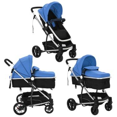 vidaXL 2-in-1 Vaikiškas sulankstomas vežimėlis, aliuminis, mėl./juodas[3/11]
