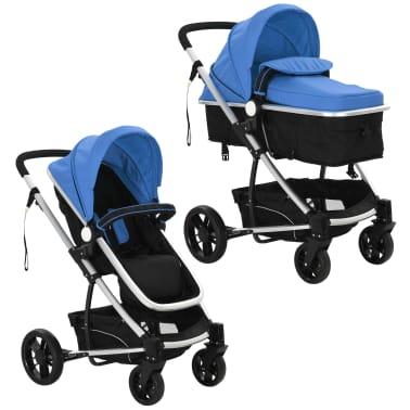 vidaXL 2-in-1 Vaikiškas sulankstomas vežimėlis, aliuminis, mėl./juodas[4/11]