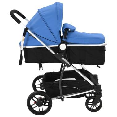 vidaXL 2-in-1 Vaikiškas sulankstomas vežimėlis, aliuminis, mėl./juodas[5/11]