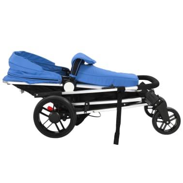 vidaXL 2-in-1 Vaikiškas sulankstomas vežimėlis, aliuminis, mėl./juodas[8/11]
