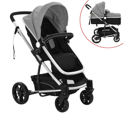 vidaXL 2-in-1 Baby Stroller/Pram Aluminium Grey and Black[1/11]