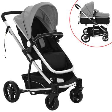 vidaXL Kinderwagen 2-in-1 grijs en zwart aluminium[1/11]