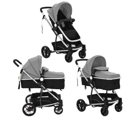 vidaXL Kinderwagen 2-in-1 grijs en zwart aluminium[3/11]