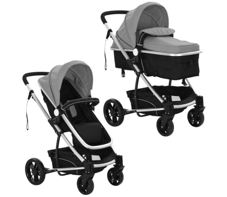 vidaXL 2-in-1 Baby Stroller/Pram Aluminium Grey and Black[4/11]
