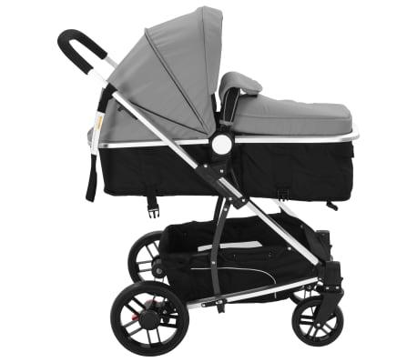 vidaXL Kinderwagen 2-in-1 grijs en zwart aluminium[5/11]