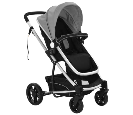vidaXL 2-in-1 Baby Stroller/Pram Aluminium Grey and Black[7/11]