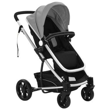 vidaXL Kinderwagen 2-in-1 grijs en zwart aluminium[2/11]