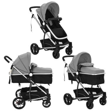 vidaXL 2-in-1 Baby Stroller/Pram Aluminium Grey and Black[3/11]