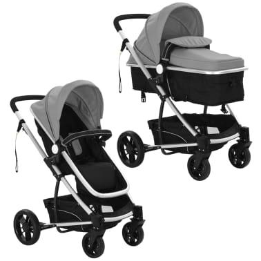 vidaXL Kinderwagen 2-in-1 grijs en zwart aluminium[4/11]