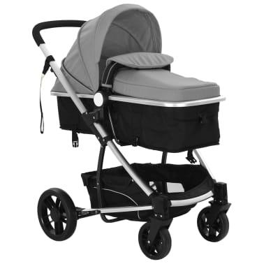 vidaXL Kinderwagen 2-in-1 grijs en zwart aluminium[6/11]