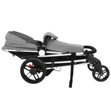 vidaXL Kinderwagen 2-in-1 grijs en zwart aluminium[8/11]