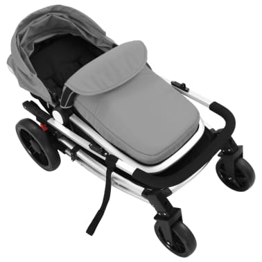 vidaXL 2-in-1 Baby Stroller/Pram Aluminium Grey and Black[9/11]