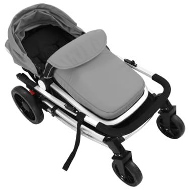 vidaXL Kinderwagen 2-in-1 grijs en zwart aluminium[9/11]