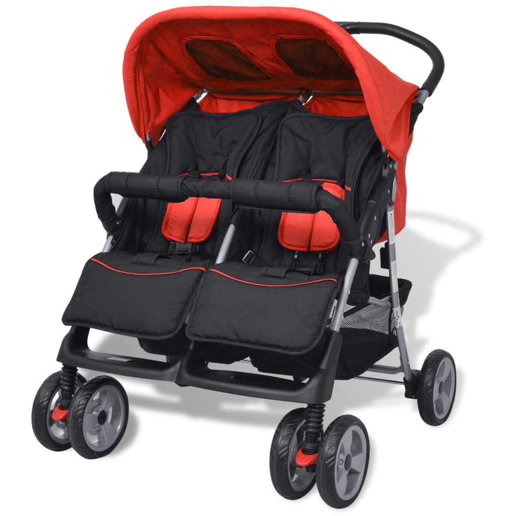 vidaXL Sportovní kočárek pro dvojčata ocelový červeno-černý