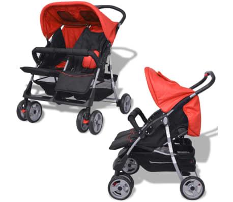 vidaXL Vaikiškas vežimėlis dvynukams, plienas, raudonas/juodas[2/14]