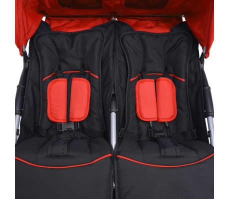 vidaXL Vaikiškas vežimėlis dvynukams, plienas, raudonas/juodas[11/14]