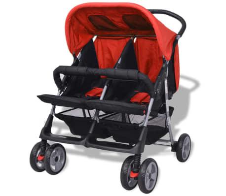 vidaXL Vaikiškas vežimėlis dvynukams, plienas, raudonas/juodas[3/14]