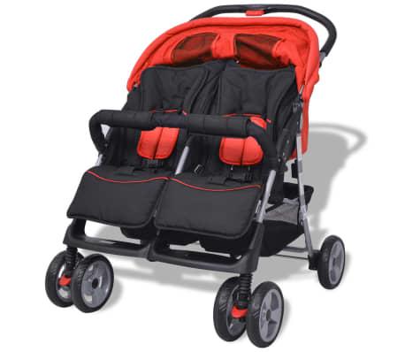vidaXL Vaikiškas vežimėlis dvynukams, plienas, raudonas/juodas[4/14]