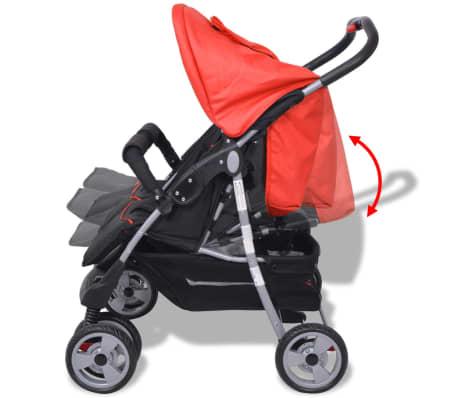 vidaXL Vaikiškas vežimėlis dvynukams, plienas, raudonas/juodas[7/14]