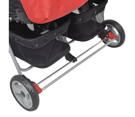 vidaXL Vaikiškas vežimėlis dvynukams, plienas, raudonas/juodas[9/14]