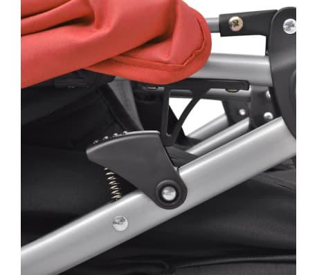 vidaXL Vaikiškas vežimėlis dvynukams, plienas, raudonas/juodas[10/14]