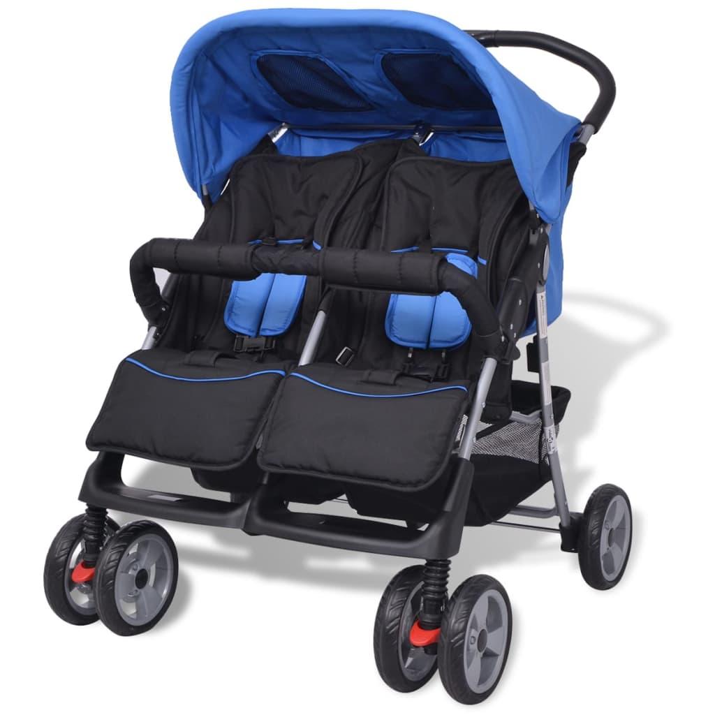 9910109 Baby Zwillingswagen Stahl blau und schwarz