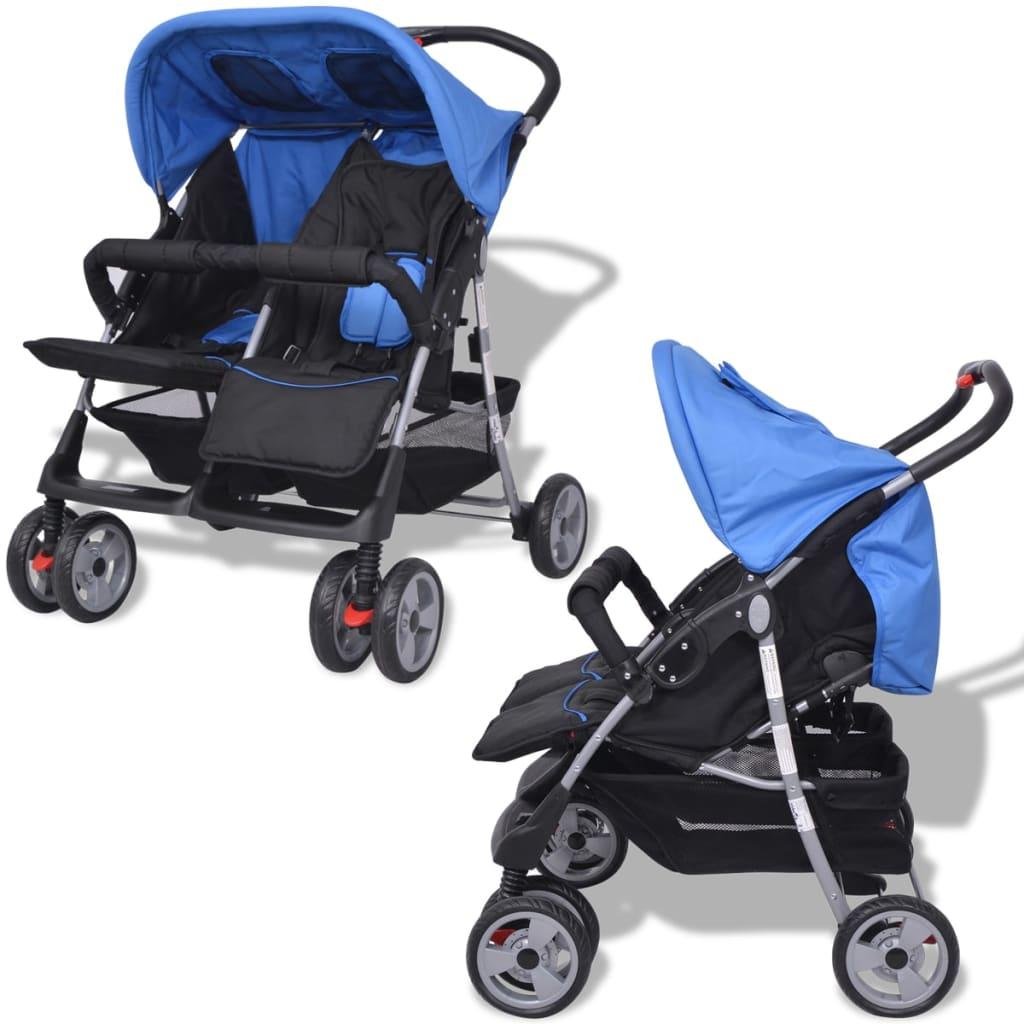 vidaXL Sportovní kočárek pro dvojčata ocelový modro-černý