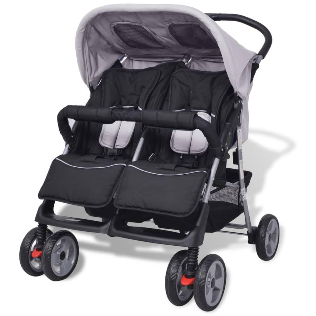 vidaXL Cărucior dublu pentru copii, gri și negru, oțel poza 2021 vidaXL