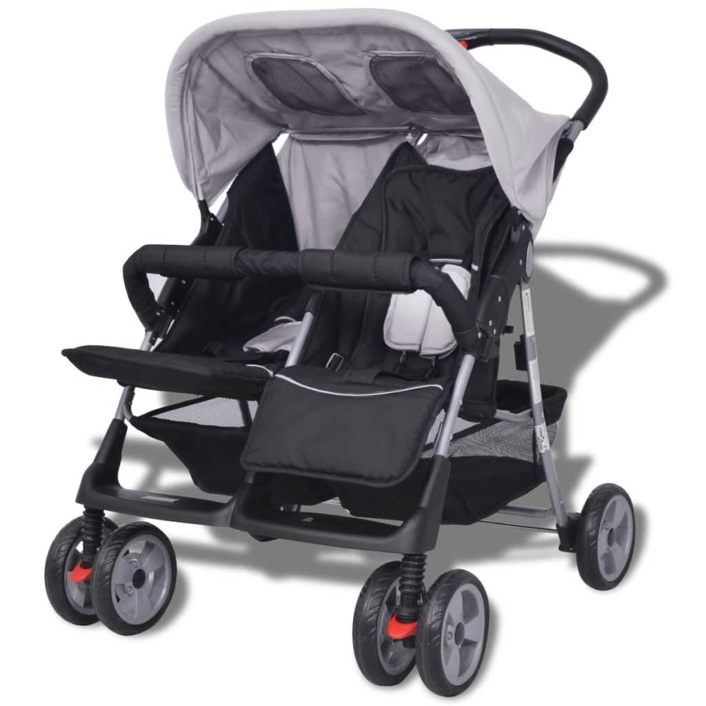 9910110 Baby Zwillingswagen Stahl grau und schwarz