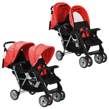 vidaXL Tandem Stroller Steel Red and Black[1/8]