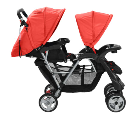 vidaXL Tandem Stroller Steel Red and Black[4/8]