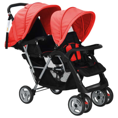 vidaXL Tandem Stroller Steel Red and Black[2/8]