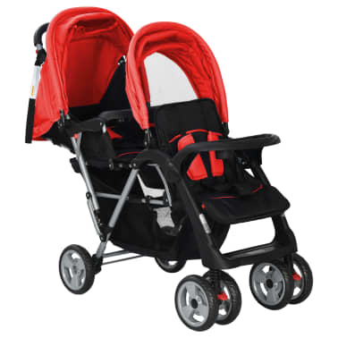 vidaXL Tandem Stroller Steel Red and Black[3/8]