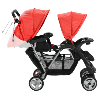 vidaXL Tandem Stroller Steel Red and Black[5/8]