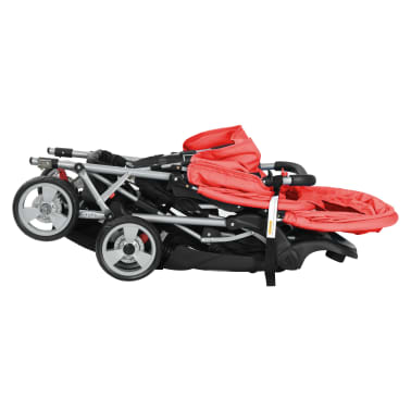 vidaXL Tandem Stroller Steel Red and Black[6/8]