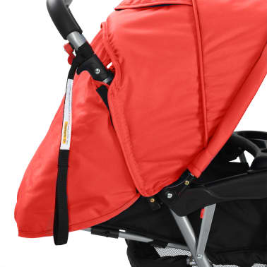vidaXL Tandem Stroller Steel Red and Black[7/8]