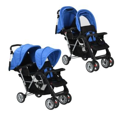 vidaXL Dubbele kinderwagen staal blauw en zwart[1/8]